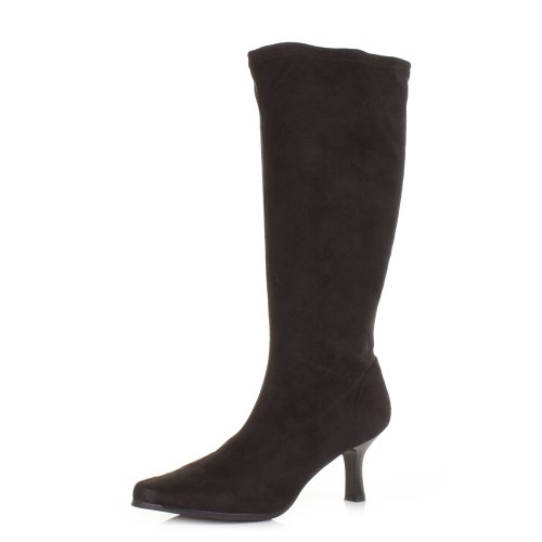Black-Stretch-KNee-High-Kitten-Heel-Wide-Fit-Boots-SIZE-6-0