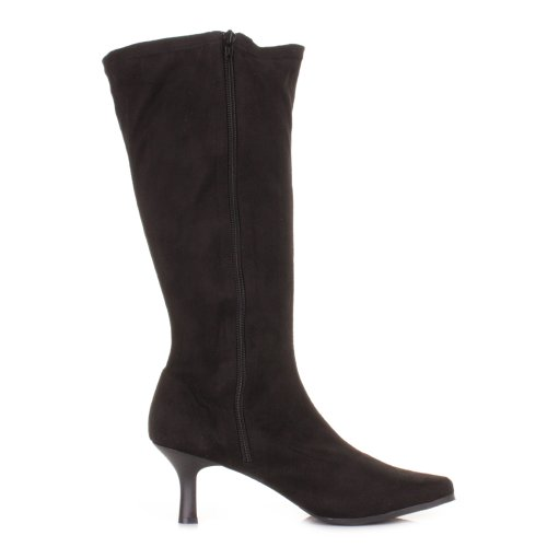 Black-Stretch-KNee-High-Kitten-Heel-Wide-Fit-Boots-SIZE-6-4