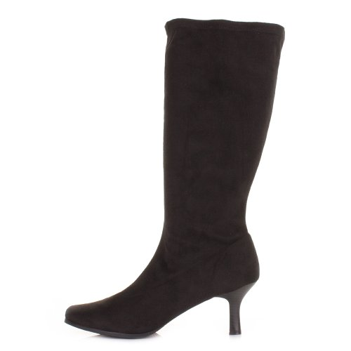 Black-Stretch-KNee-High-Kitten-Heel-Wide-Fit-Boots-SIZE-6-5