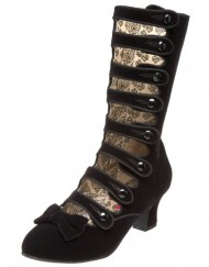 Bordello-Black-Velvet-8-strap-Calf-Boots-with-kitten-heel-LadiesWomens-UK-4-0