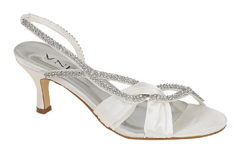 Chic Feet Ladies Womens Ivory Satin Wedding Bridal Diamante Low ...