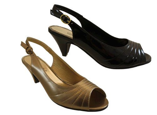 ... Wide Fit Sandals Shoes UK Size 7.  Comfort-Plus-Ladies-Black-Patent-Peep-Toe-Sling- 920c50edaf95