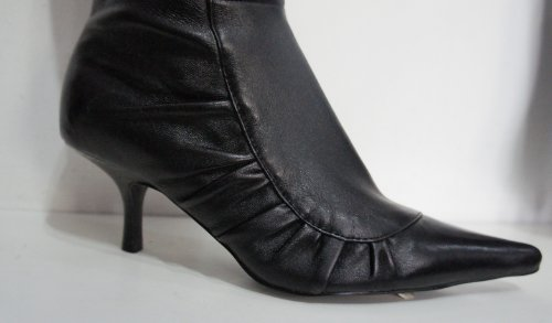 "DUNE ""FALOO"" Black Leather Kitten Heel Ruched Side Ankle Boots ..."