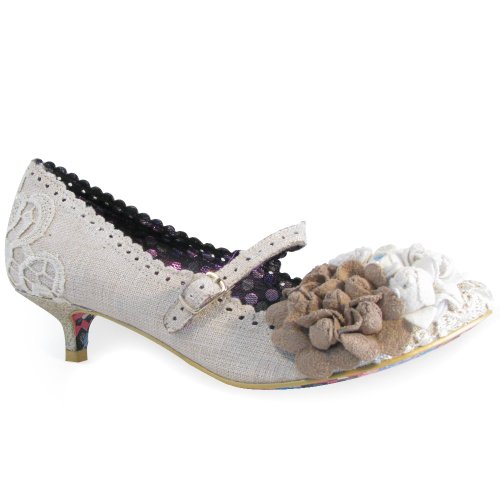 Irregular-Choice-Daisy-Dayz-CreamBeige-Kitten-Heel-Shoe-UK-6-EU-39-US-8-0