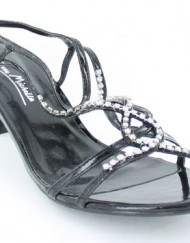 Ladies-L3879-Black-Patent-Diamante-Trim-Kitten-Heel-Sandal-UK-6-0