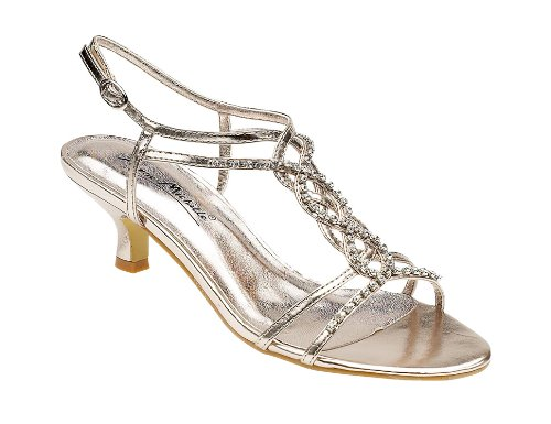 Ladies L3879 Champagne Diamante Trim Kitten Heel Sandal (UK 4 ...