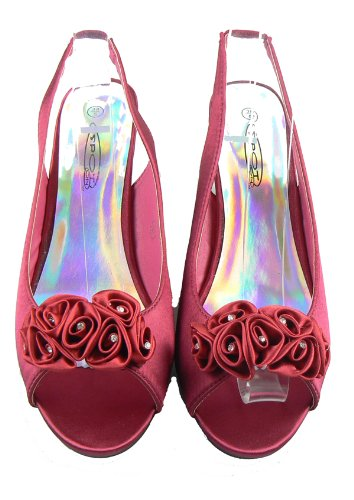 Ladies-Multi-Soft-Satin-Diamante-Slingbacks-Low-Heels-Bridesmaids-Wedding-Shoes-Red-5-1