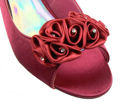 Ladies-Multi-Soft-Satin-Diamante-Slingbacks-Low-Heels-Bridesmaids-Wedding-Shoes-Red-5-2