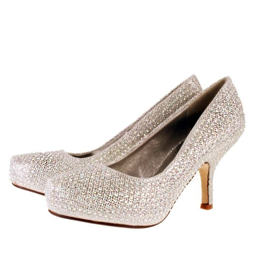 c32731fccc Ladies TRUFFLE Silver Diamante Sparkle Kitten Heel Evening Bridal ...