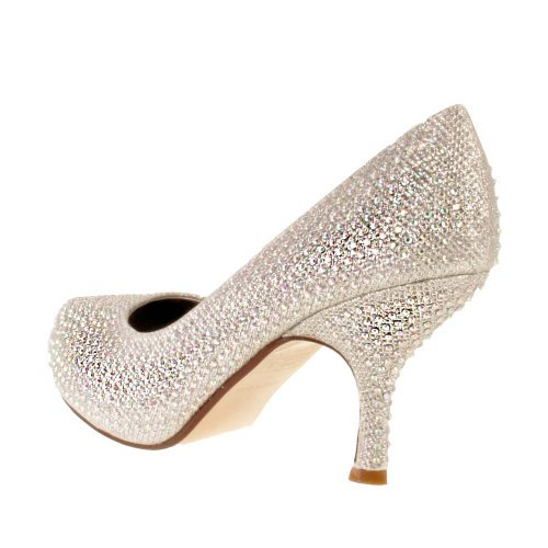 fa753df15f92 Ladies TRUFFLE Silver Diamante Sparkle Kitten Heel Evening Bridal ...
