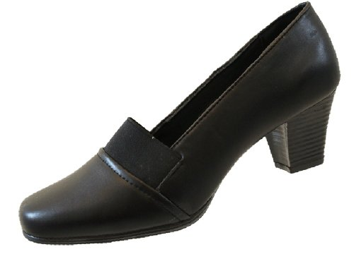 8049e2040904a ... Black Court Shoes Size UK 7. Ladies-Womens-Low-Medium-Heels -Casual-Work-Office-