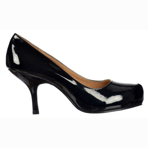 Ladies-Womens-Low-Mid-Kitten-Heel-Court-Shoes-Black-Patent-UK-3-EU36-0