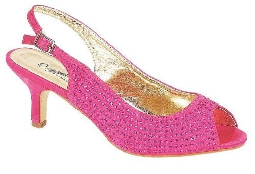 Ladies-Womens-Navy-Blue-Silver-Fuschia-Pink-Beaded-Rhinestone-Diamante-Low-Heel-Evening-Party-Wedding-Prom-Slingback-Peeptoe-Sandals-Shoes-7-Fuschia-0