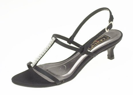Ladies Low Heel Evening Sandal with Diamante Trim in Black ...
