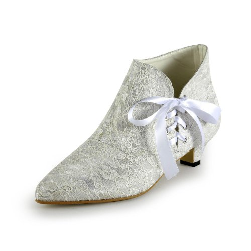 Minitoo-TH12122-Womens-Kitten-Heel-Pointed-Toe-Ivory-Lace-Evening-Party-Bridal-Wedding-Lace-Up-Shoes-Ankle-Boots-Size-7-0