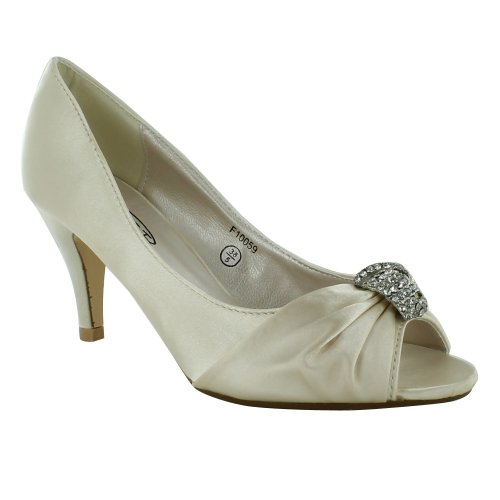 fa331097a67 New Ladies Bridal Wedding Prom Party Kitten Low Heel Peep Toe ...