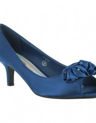 New-Ladies-Bridal-Wedding-Prom-Party-Kitten-Low-Heel-Peep-Toe-Evening-Satin-Court-Sandals-Size-3-4-5-6-7-8-Navy-UK-Size-5-0