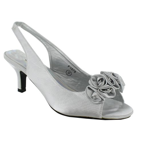d57afcac895 New Ladies Kitten Heel Bridal Evening Sandals Womens Shoes Size UK 3 4 5 6  7 8, Silver, UK 5