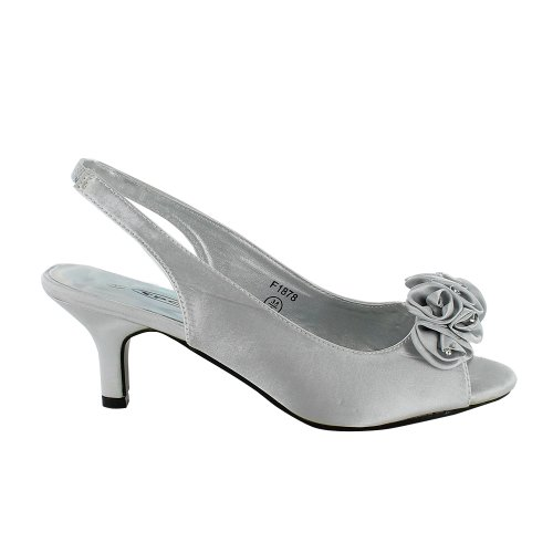 Silver Grey Kitten Heel Shoes | Tsaa Heel