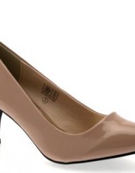 WOMENS-FAUX-LEATHER-POINTED-TOE-COURT-STILETTO-KITTEN-HEELS-LADIES-SHOES-NUDE-PATENT-SIZE-5-0