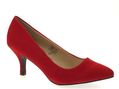 WOMENS-FAUX-LEATHER-POINTED-TOE-COURT-STILETTO-KITTEN-HEELS-LADIES-SHOES-RED-SIZE-6-0