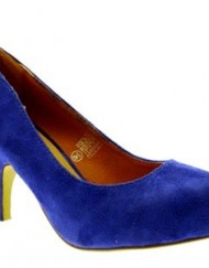 WOMENS-FAUX-LEATHER-SQUARE-TOE-COURT-STILETTO-KITTEN-HEELS-LADIES-SHOES-SUEDE-BLUE-SIZE-4-0