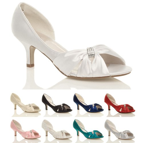 WOMENS LADIES WEDDING EVENING LOW KITTEN HEEL PEEPTOE SHOES ...