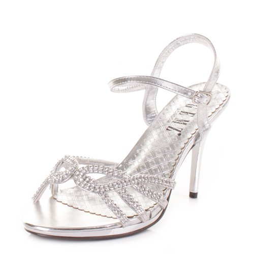 Womens-Diamante-Mid-Heel-Strappy-Prom-Wedding-Shoe-SIZE-5-0
