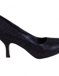 Womens-Fashion-Diamante-Shimmer-Low-Kitten-Heel-Party-Court-Shoes-Black-7-0
