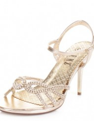 Womens-Gold-Diamante-Mid-Heel-Strappy-Party-Shoes-SIZE-4-0