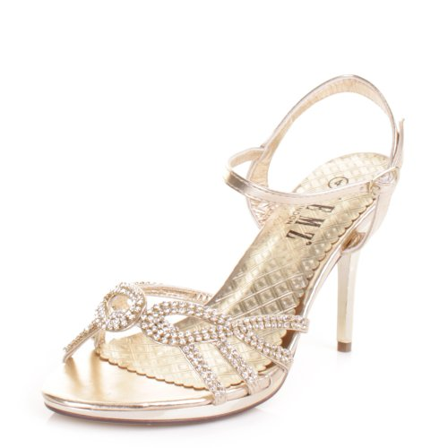 5ae65e6e7d3 Womens Gold Diamante Mid Heel Strappy Party Shoes SIZE 4