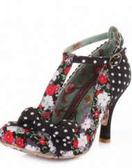 Womens-Irregular-Choice-Bloxy-Black-Floral-Shoes-SIZE-5-0