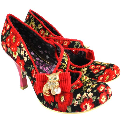 Womens-Irregular-Choice-Wiskers-Mid-Heel-Strap-Mary-Jane-Court-Shoe-Red-8-0