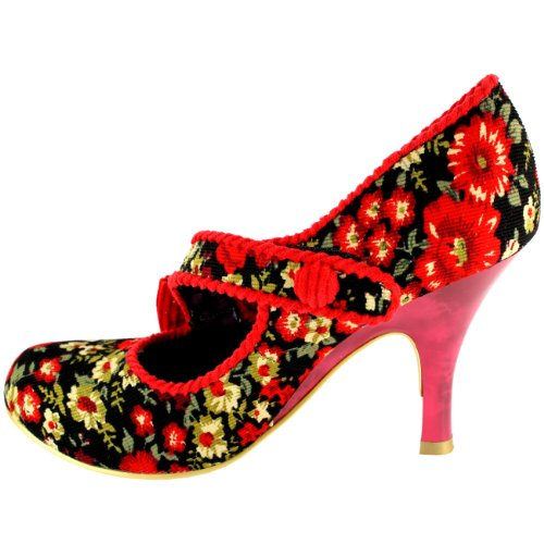 Womens-Irregular-Choice-Wiskers-Mid-Heel-Strap-Mary-Jane-Court-Shoe-Red-8-2
