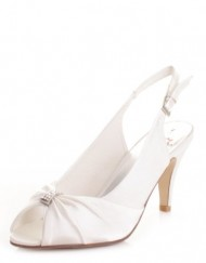 Womens-Ivory-Slingback-Diamante-Kitten-Heel-Shoes-SIZE-3-0