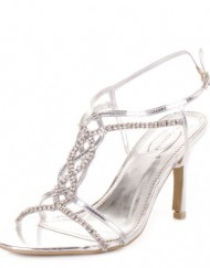 Womens-Ladies-Silver-Strappy-Heeled-Party-Shoes-SIZE-3-0