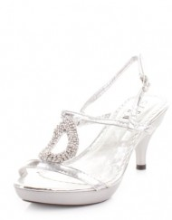 Womens-Low-Heel-Silver-Strappy-Slingback-Shoes-SIZE-6-0