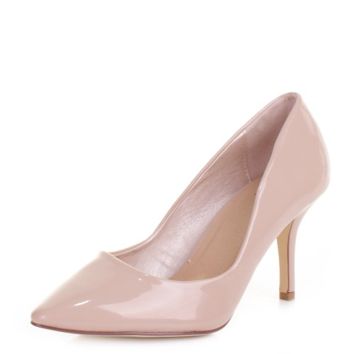Womens-Nude-Patent-Kitten-Heel-Pointed-Toe-Shoes-SIZE-6-0