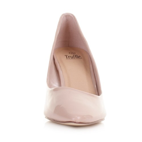Womens-Nude-Patent-Kitten-Heel-Pointed-Toe-Shoes-SIZE-6-1