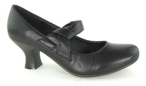 Womens-Round-Toe-Ankle-Strap-Court-Ladies-Low-to-Medium-Heel-Bow-Knot-Office-Shoe-Black-Size-7-UK-0
