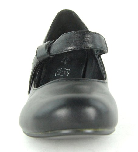 Womens-Round-Toe-Ankle-Strap-Court-Ladies-Low-to-Medium-Heel-Bow-Knot-Office-Shoe-Black-Size-7-UK-1