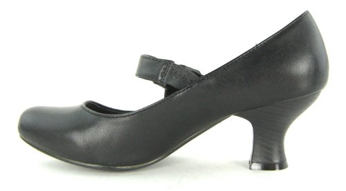 Womens-Round-Toe-Ankle-Strap-Court-Ladies-Low-to-Medium-Heel-Bow-Knot-Office-Shoe-Black-Size-7-UK-2