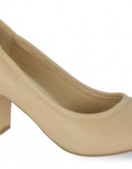 Womens-Round-Toe-Court-Ladies-Classic-Office-Shoe-Medium-to-High-Heel-Nude-Faux-Leather-Size-4-UK-0