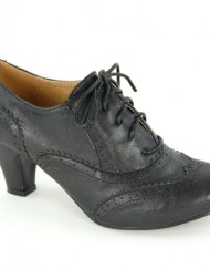 Womens-Round-Toe-Lace-Up-Brogue-Work-Office-Shoe-Ladies-Low-to-Medium-Heel-Court-Black-Size-7-UK-0
