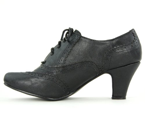 Womens-Round-Toe-Lace-Up-Brogue-Work-Office-Shoe-Ladies-Low-to-Medium-Heel-Court-Black-Size-7-UK-2
