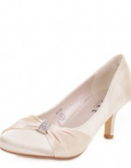 Womens-low-Kitten-Heel-Bridal-Wedding-Ivory-Shoes-SIZE-5-0