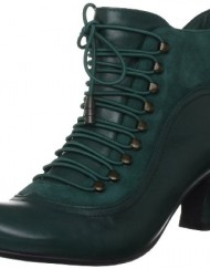 Hush-Puppies-Womens-Vivianna-Green-Leather-Mid-Heel-Ankle-Boots-UK-7-0