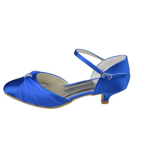 Minitoo GYAYL080 Womens Kitten Heel Closed Toe Blue Satin Evening ...