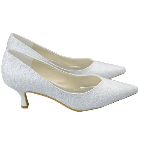 Minitoo GYAYL270 Womens Kitten Heel Closed Toe White