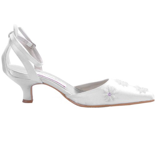 Minitoo Womens Kitten Heel Pointed Toe Handmade Ivory Satin Evening ...